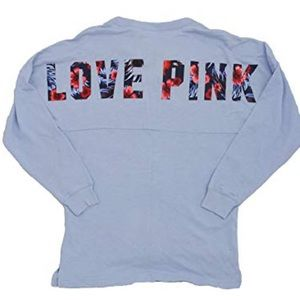 VS Pink Campus Hibiscus Flower Long Sleeve T Shirt